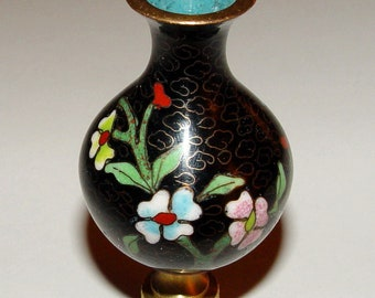Vintage Chinese Cloisonne Enamel Vase Lamp Finial