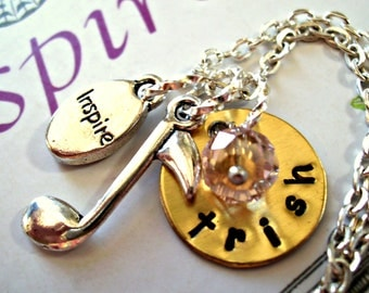 Personalized Musical Note Necklace, Crystal Necklace, Music Necklace, Hand Stamped Jewelry, Name Necklace