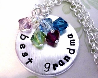 Best Grandma Necklace, Personalized Hand Stamped Jewelry, Family Necklace, Grandma Necklace