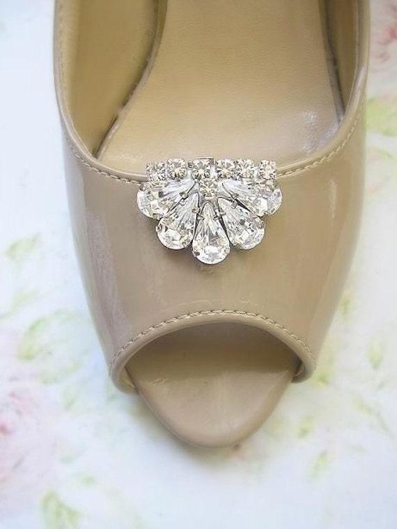 bridal Shoe Clips, wedding Shoe Clips, Jewelry crystal shoe clips, vintage style, wedding  Shoe accessories ,sparkle Swarovski Rhinestones,