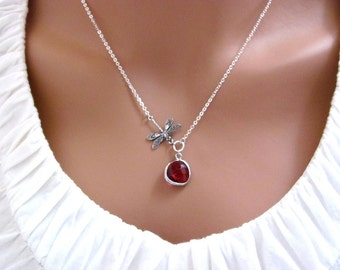 Silver Dragonfly Red Ruby Drop Necklace- July Birthstone, spring summer style, bridesmaids, available in gold and other birthstone colors.