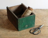 SALE Vintage Wood Drawer Box with Dark Green Paint