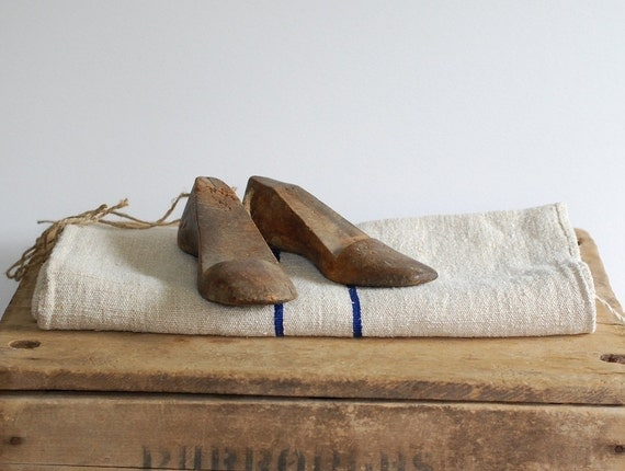 Pair of Antique Wood Shoe Forms - His & Hers