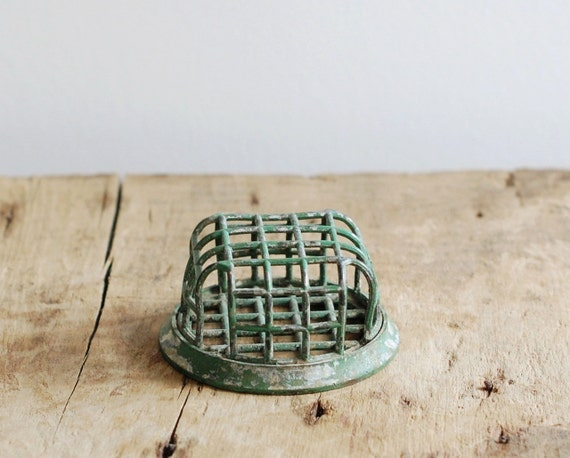 Vintage Green Metal Flower Frog - Cage Style