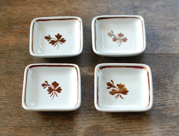 Set of 4 Antique Tea Leaf Ironstone Butter Pats - GOOD Condition - Alfred Meakin, England