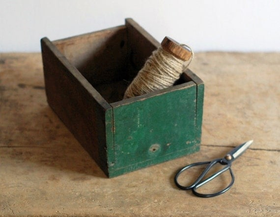 SALE Vintage Wood Drawer Box with Dark Green Paint