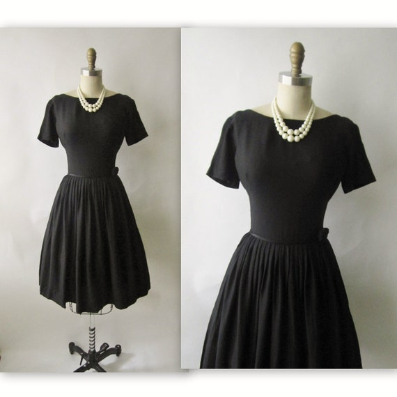 50's Black Cocktail Dress // Vintage 1950's Black Cocktail Party Audrey LBD Dress XS S