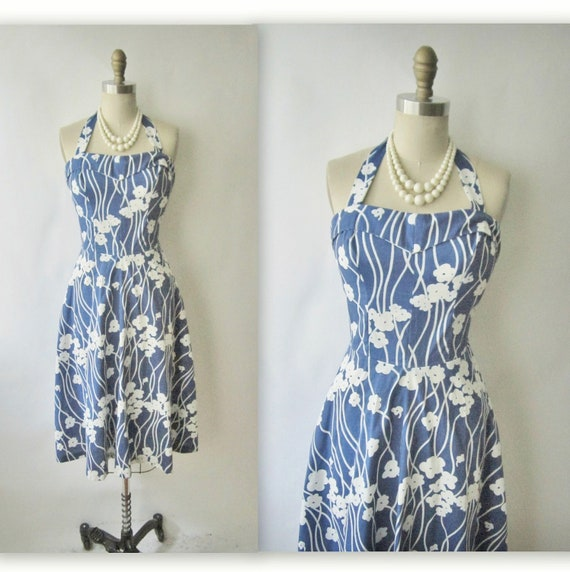 60's Halter Dress // Vintage 1960's Floral Print Garden Party Halter Dress S