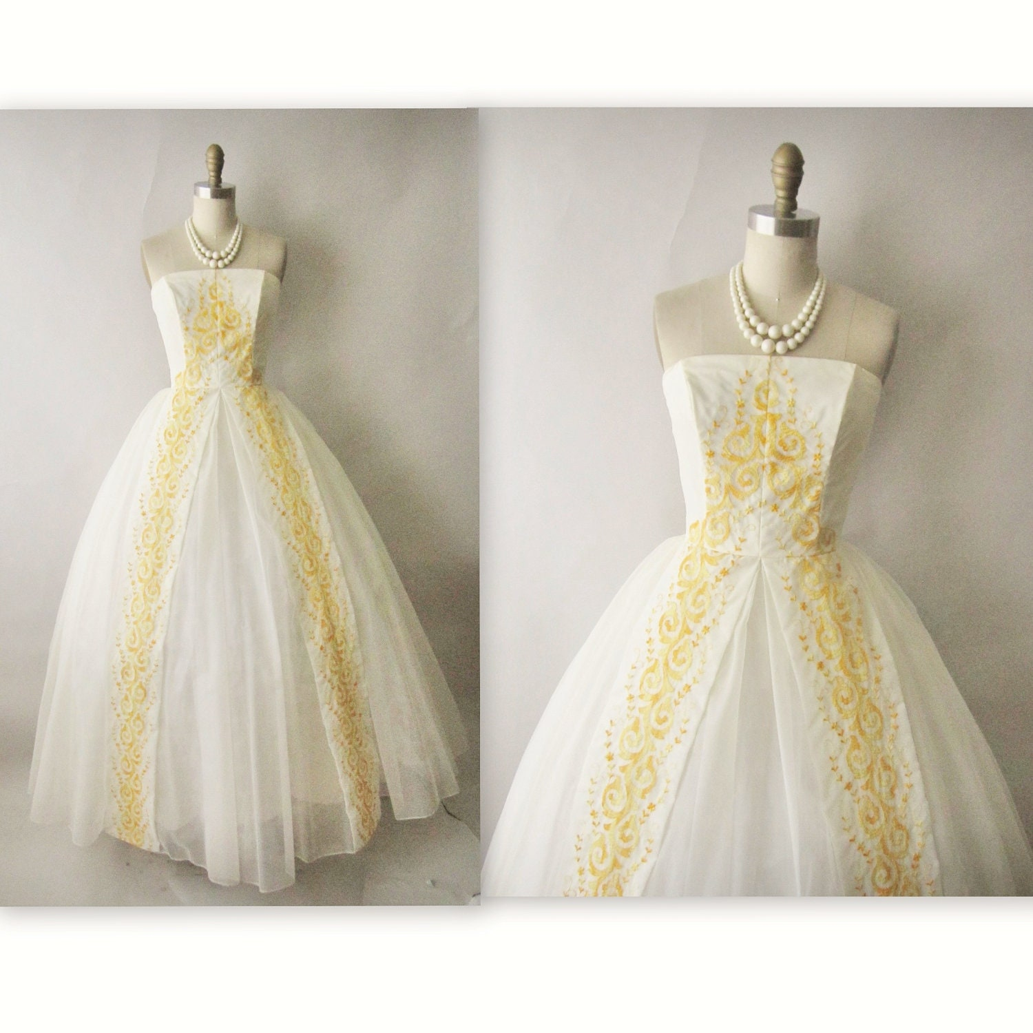 50 s Wedding Dress Vintage 1950 s Embroidered White