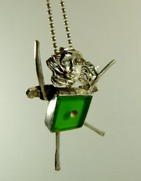 Angel Hadley Is Focusing On Herself - Up Cycled Sterling, Green Dice, And PMC - Art Jewelry Pendant - 916