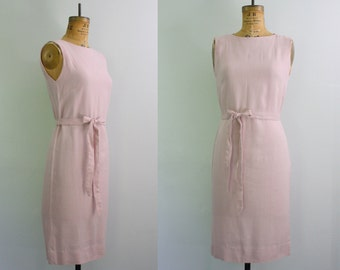 60s sheath dress / 1960s shift dress / linen dress small