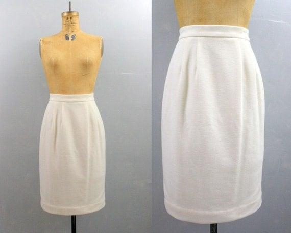 RESERVED ///// high waisted pencil skirt / white pencil skirt / 1980s skirt Small S