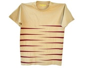 Men's sand color t-shirt with burgundy vinyl horizontal tiger stripes.