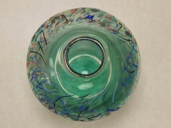 BEACHY Vintage American Studio Blown Glass Vase by Loretta Eby in TEAL with Splatters and Smears