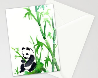 Panda Bamboo Card - Asian Art Sumi-e Art Card