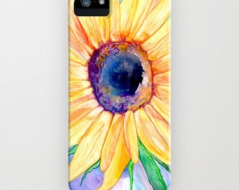 Floral iPhone 7 Case - Sunflower Watercolor Painting - Designer iPhone or Samsung Case