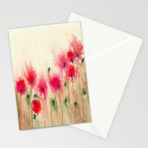 Floral Art Card - Red Poppies Watercolor Painting - Blank Inside