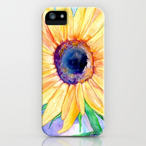 Floral iPhone 6s Case - Sunflower Watercolor Painting - Designer iPhone or Samsung Case