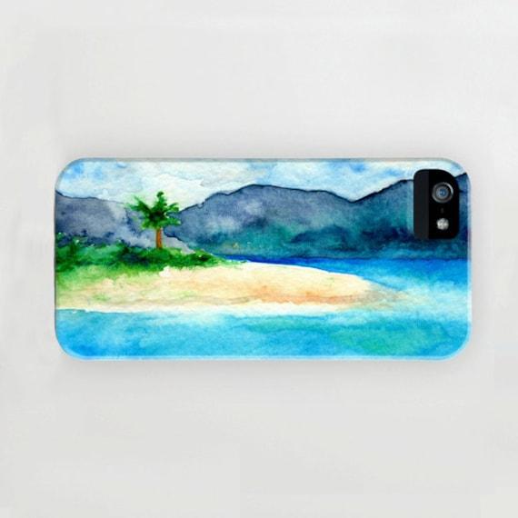 iPhone Case Caribbean Sea - Sandy Cove Seascape Painting - Designer iPhone Samsung Case