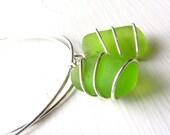 Lime Green Beach Glass Earrings