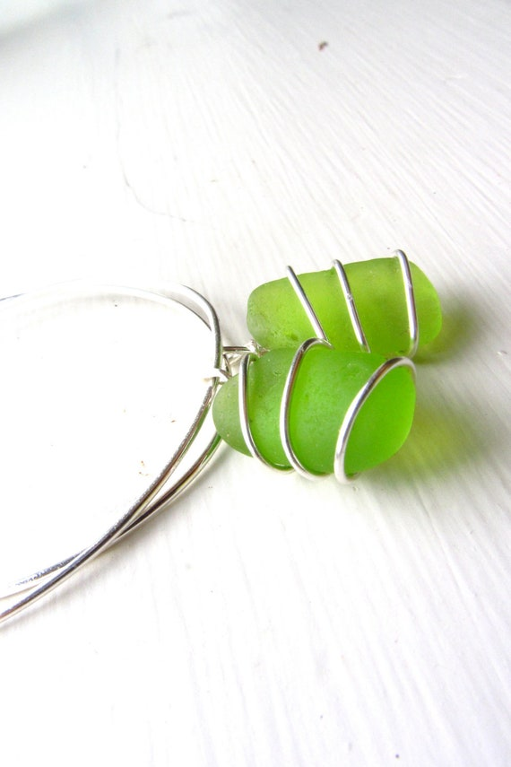 Lime Green Beach Glass Earrings