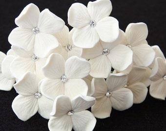 Bridal Hair Pins, Set Of 4 Hair Pins, White Or Ivory Hydrangea Hair Pins With Swarovski Rhinestones, Custom Colors Available