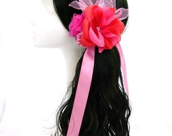 Pink Bow Ponytail Hair Corsage Candy Pink & Cerise Pink With Pink Tulle Leaf Spray Accessory  4 Prom Party Pinup Burlesque Wedding