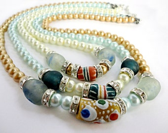 Annabel Lee 3 Strand Pastel Pearl Necklace with African Krobo Trade Beads.