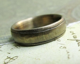 Rustic Gold Wedding Band, 14k Yellow Gold, Comfort Fit, Handmade, Engraved, Oxidized Antique Patina... 6 x 2mm #jcmetalsmith