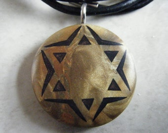Star of David hand carved on a polymer clay Gold/Antique gold pearl color background. Pendant comes with a FREE necklace