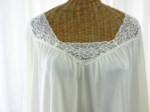 Vintage Miss Elaine Frilly Peasant Nightgown Cream 1960 ILGWU Made USA Size Small on Etsy