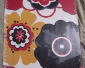 Clipboard Lucite Fabric Red Yellow Black Flowers Floral Durable Plastic Clip board 9 x 12 Office organizer Desk Accessory Writing Surface