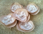 Light Peach/PalePink  lace Flower Appliques Embellishment Supplies 5 ps Wedding Decorations -Brooch,Bobby pin,hair clip,flower for sash
