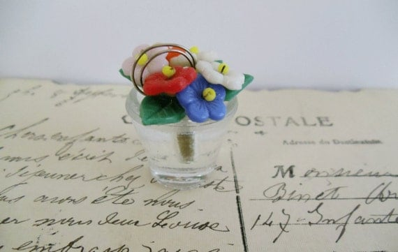 Vintage Czech Glass Flowers in Basket Place Card Holder - RARE - BUSINESS Card Holder -  Collectible - Home Decor