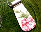 RECYCLED BROKEN CHINA Plate Necklace - Pink Hydrangea