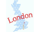 I Love London - British Home Decor 8x10 - Big Ben, Hearts, UK, Travel, Polka Dot, Blue and Red, Font, Country, Passport, Illustration