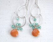 Orange and Green Chandelier Earrings