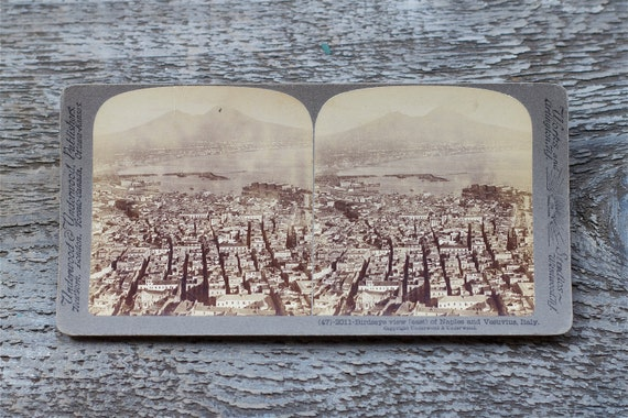 vintage stereo card photograph : naples and vesuvias italy by 24pont