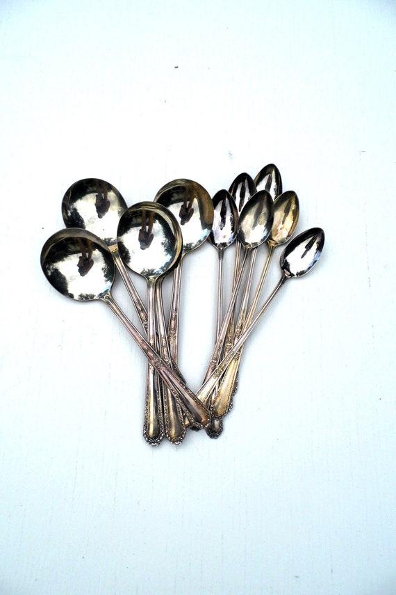 Vintage Monroe Silver Company Spoons, Vintage Monroe Company Silverware, early 1900s, Vintage Soup Spoons