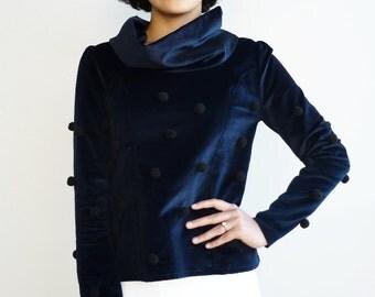 Turtle neck, Velvet top, long sleeved blouse, pompom top, long sleeve top, handmade
