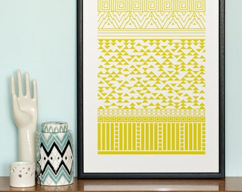 From Mountains to Cities screen print in Sunny Gold