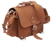 Leather Satchel, Possibles Bag, SMALL - Buckskin Tan Distressed