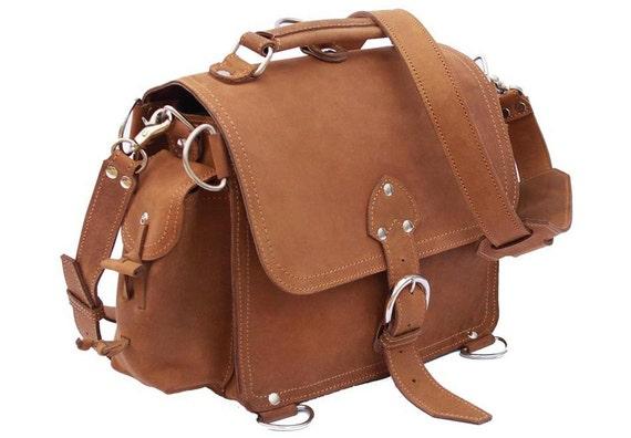 Leather Satchel, Possibles Bag, SMALL - Buckskin Tan Distressed