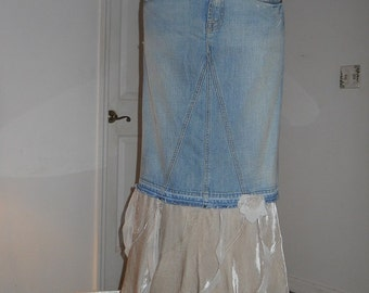 Guinevère ruffled jean skirt ivory velvet Seven for All Mankind  rose Renaissance Denim Couture bohemian goddess