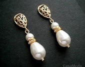 White Pearl Earrings In Gold With White Swarovski Teardrop Pearls