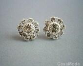 Crystal Earrings Silver Stud Crystal Flower Earrings