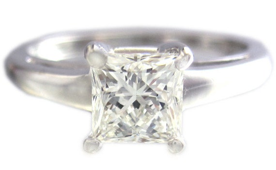 14k white gold princess cut diamond engagement ring solitaire prong style 1.00ct