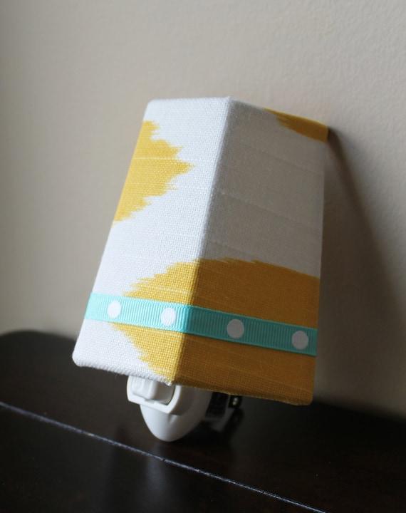 SALE!! Yellow Ikat Fabric With Aqua Accent - Night Light