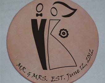 MR. and MRS. Est. Custom Laser Engraved Leather Coaster
