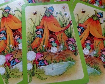 6 Elf Pixie with Flower Vintage Playing Cards